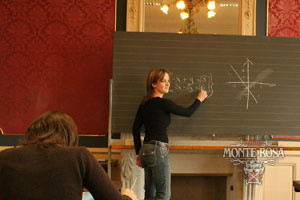 Teacher and blackboard at Institut Monte Rosa